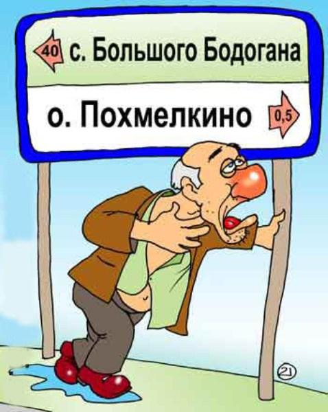 "Карикатура ""Указатели для алкаша"""