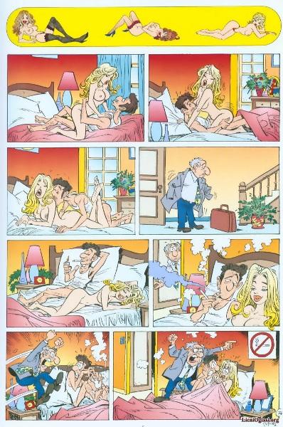 Эротический мини-комикс про любовника, жену и мужа