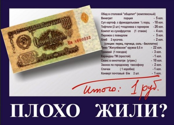 Что можно было купить на советский рубль
