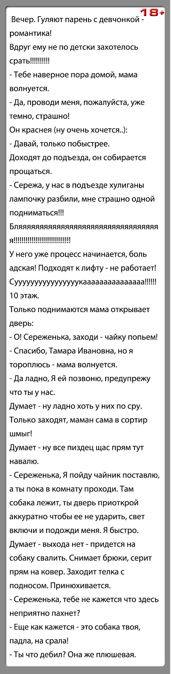 """Анекдот """"Гуляют парень с девчонкой-романтика"""""""