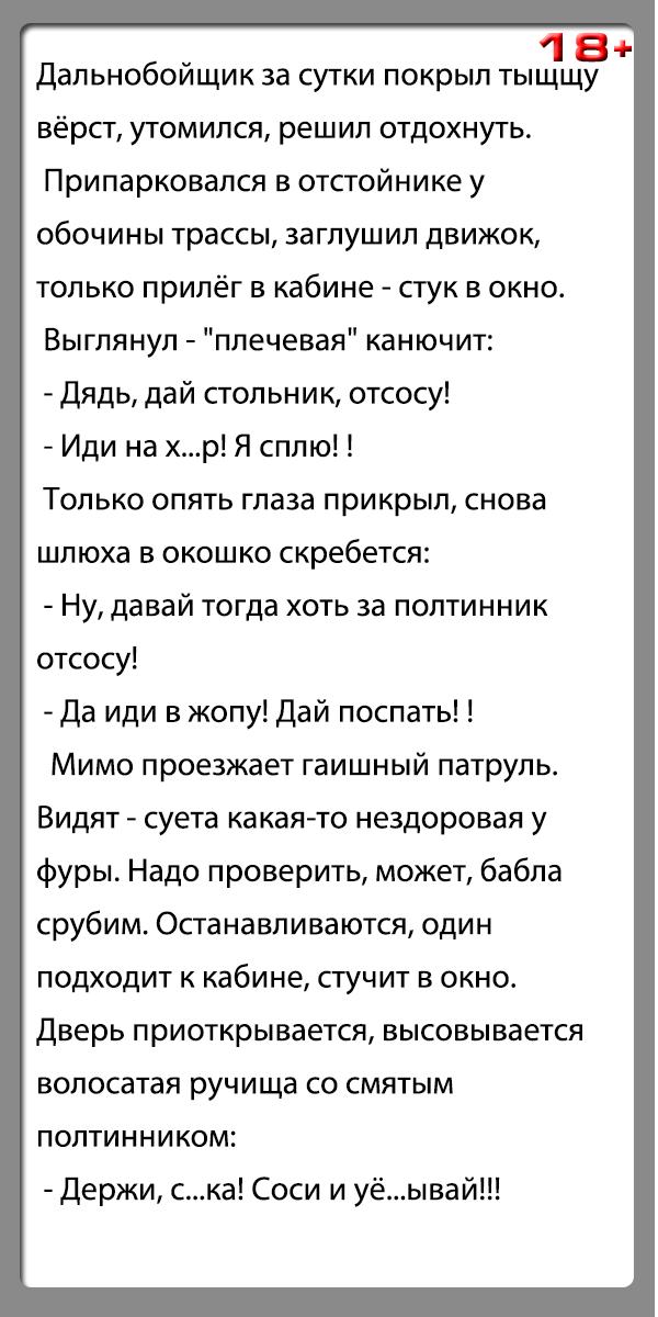 """Анекдот """"Дальнобойщик, проститутка и гаишник"""""""